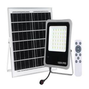 Proiector LED 100W Cu Panou Solar Și Telecomandă