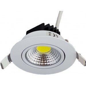 Spot LED Cob 7W Rotund Alb Rece
