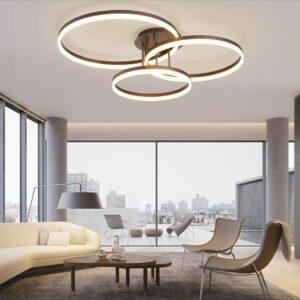 Lustră LED Dimabilă Trei Cercuri Maro
