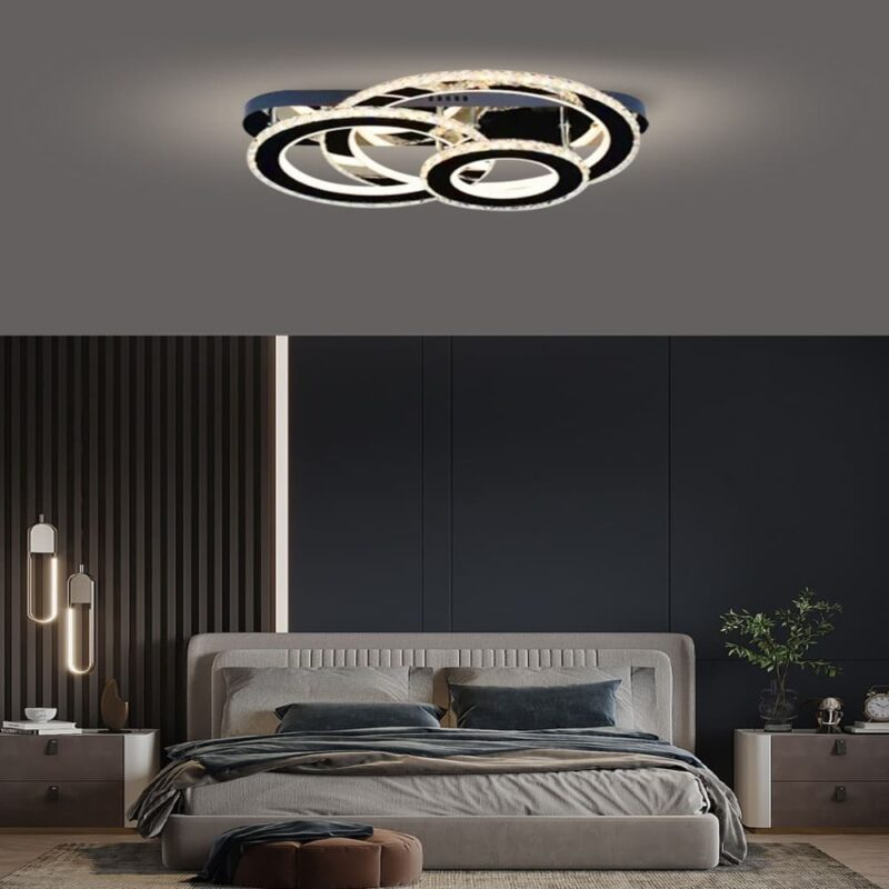 Lustra LED Cristal 3 Cercuri 120W